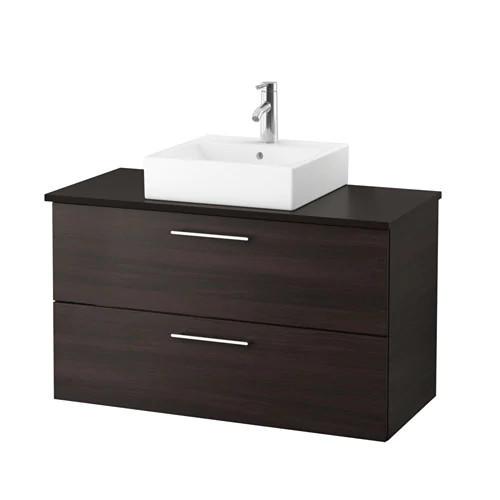 Шкаф с раковиной IKEA GODMORGON / TOLKEN / TÖRNVIKEN 102x49x72 см с 2 ящиками коричневый антрацит 491.847.62