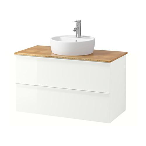 Шкаф с раковиной IKEA GODMORGON / TOLKEN / TÖRNVIKEN 102x49x74 см с ящиками глянцевый белый бамбук 791.852.46