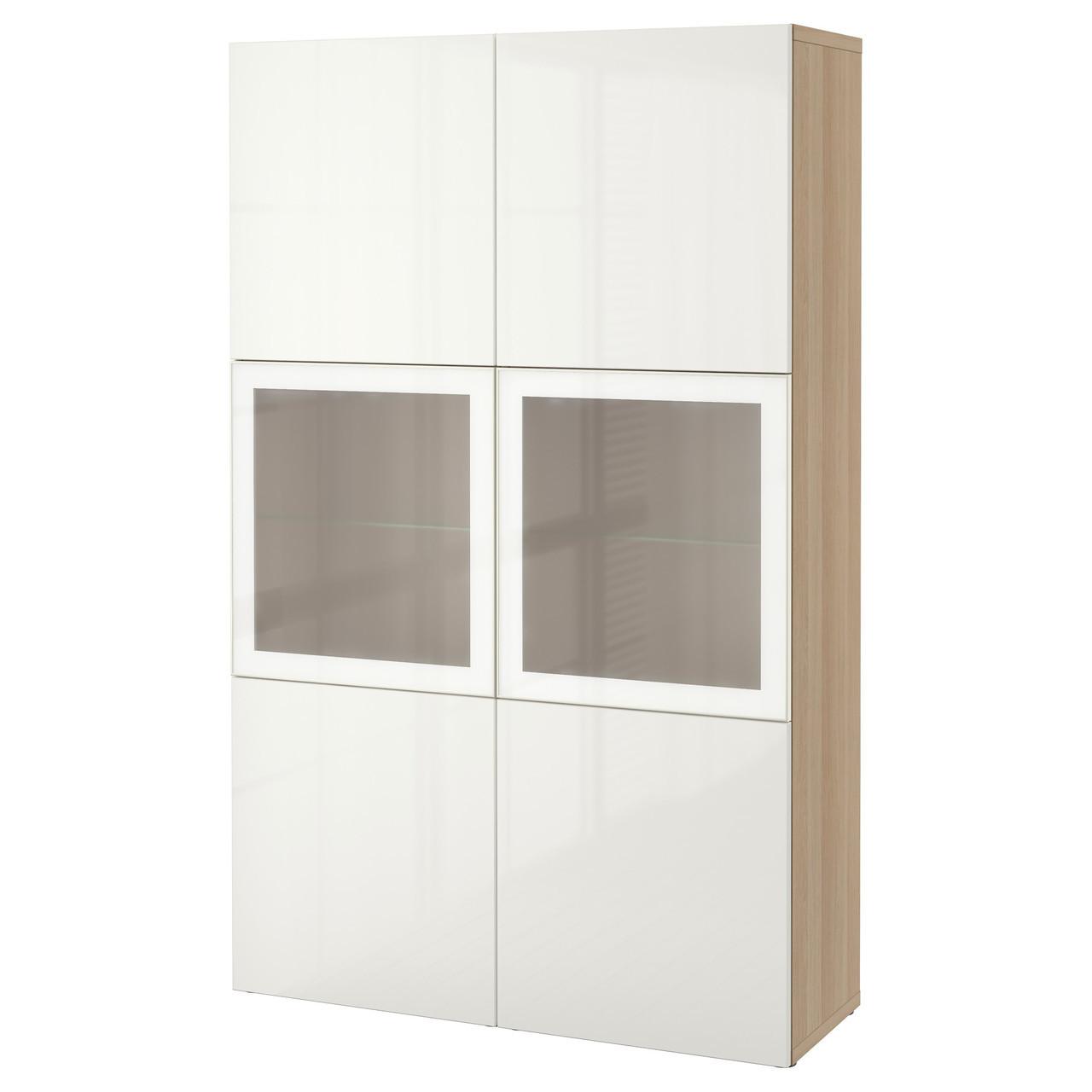 BESTÅ Стеллаж/стеклянная дверь, дуб bejcowany бело, Selsviken глянцевый белый матовое стекло 490.898.97