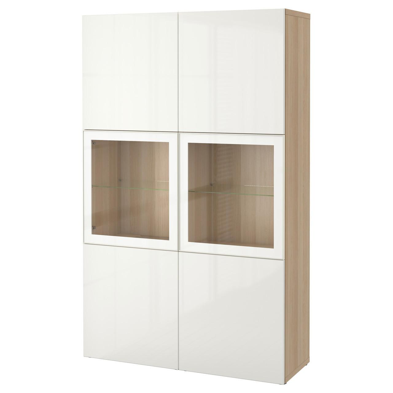 BESTÅ Стеллаж/стеклянная дверь, дуб bejcowany бело, Selsviken глянцевый белый стекло, прозрачный 190.898.51
