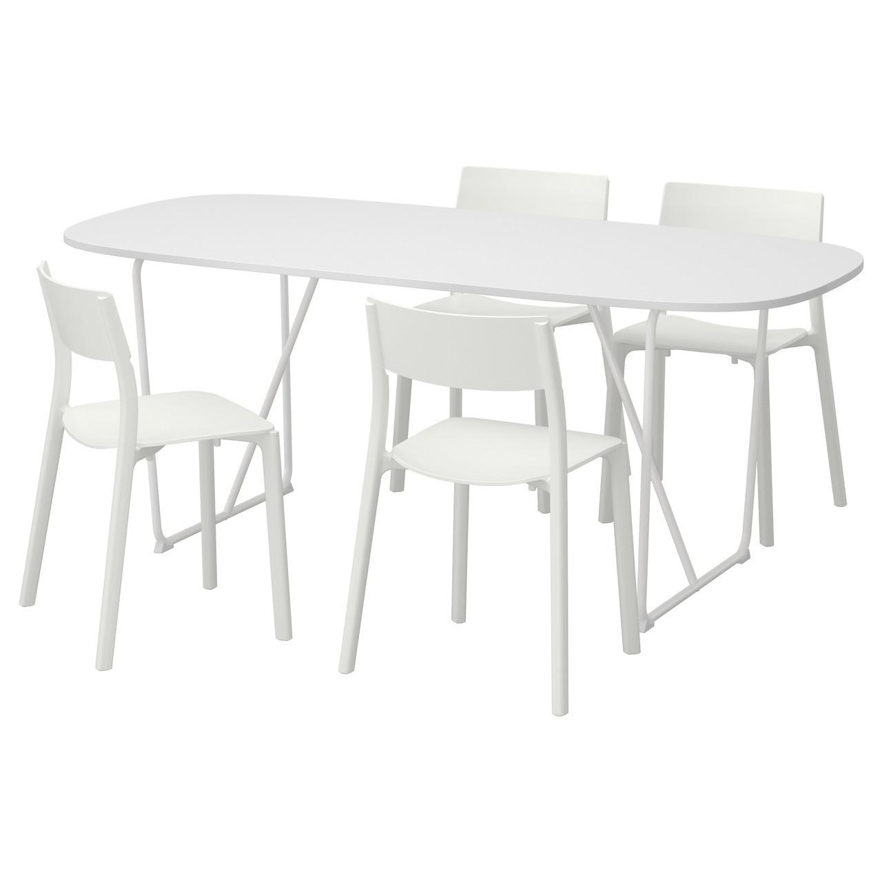 OPPEBY/ BACKARYD / JANINGE Стол и 4 стула, белый, белый 391.615.44