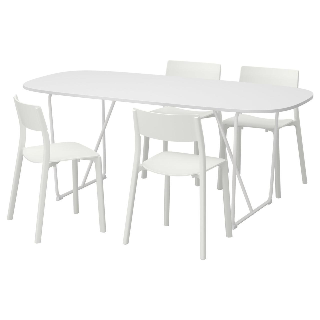 Комплект для кухни (стол и 4 стула) IKEA OPPEBY / BACKARYD / JANINGE 185 см белый 492.298.26