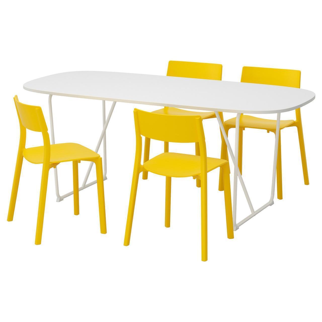 Комплект для кухни (стол и 4 стула) IKEA OPPEBY / BACKARYD / JANINGE 185 см белый желтый 692.298.25