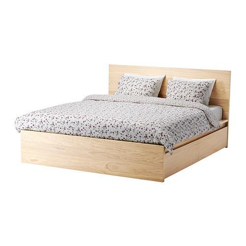 Каркас кровати IKEA MALM 160x200 см c 4 ящиками дубовый шпон беленый Lönset 791.750.73