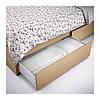 Каркас кровати IKEA MALM 160x200 см c 4 ящиками дубовый шпон беленый Lönset 791.750.73, фото 3