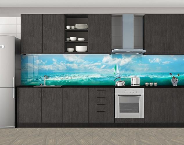 Кухонный фартук Парусник, облака и голубая вода, Кухонный фартук с фотопечатью, Море, пляж, голубой
