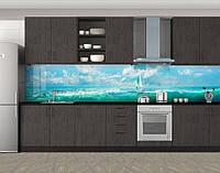 Кухонный фартук Парусник, облака и голубая вода, Кухонный фартук с фотопечатью, Море, пляж, голубой, фото 1