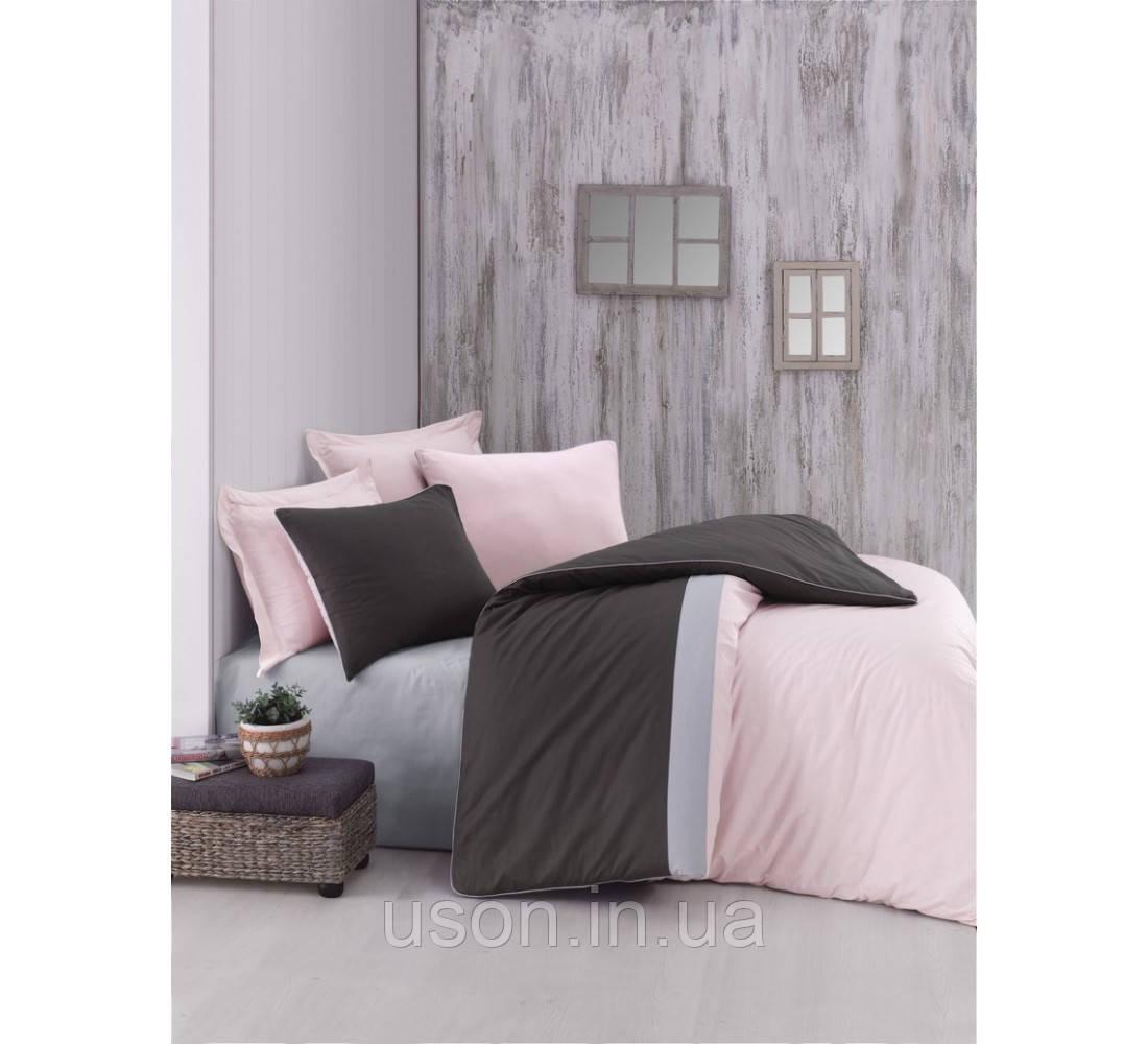 Комплект постельного белья евро размер Cotton box ранфорс Plain Sport Pudra