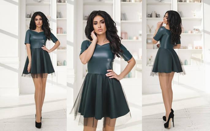 """Приталенное комбинированное мини-платье """"Varvara"""" с фатиновой юбкой (4 цвета), фото 2"""