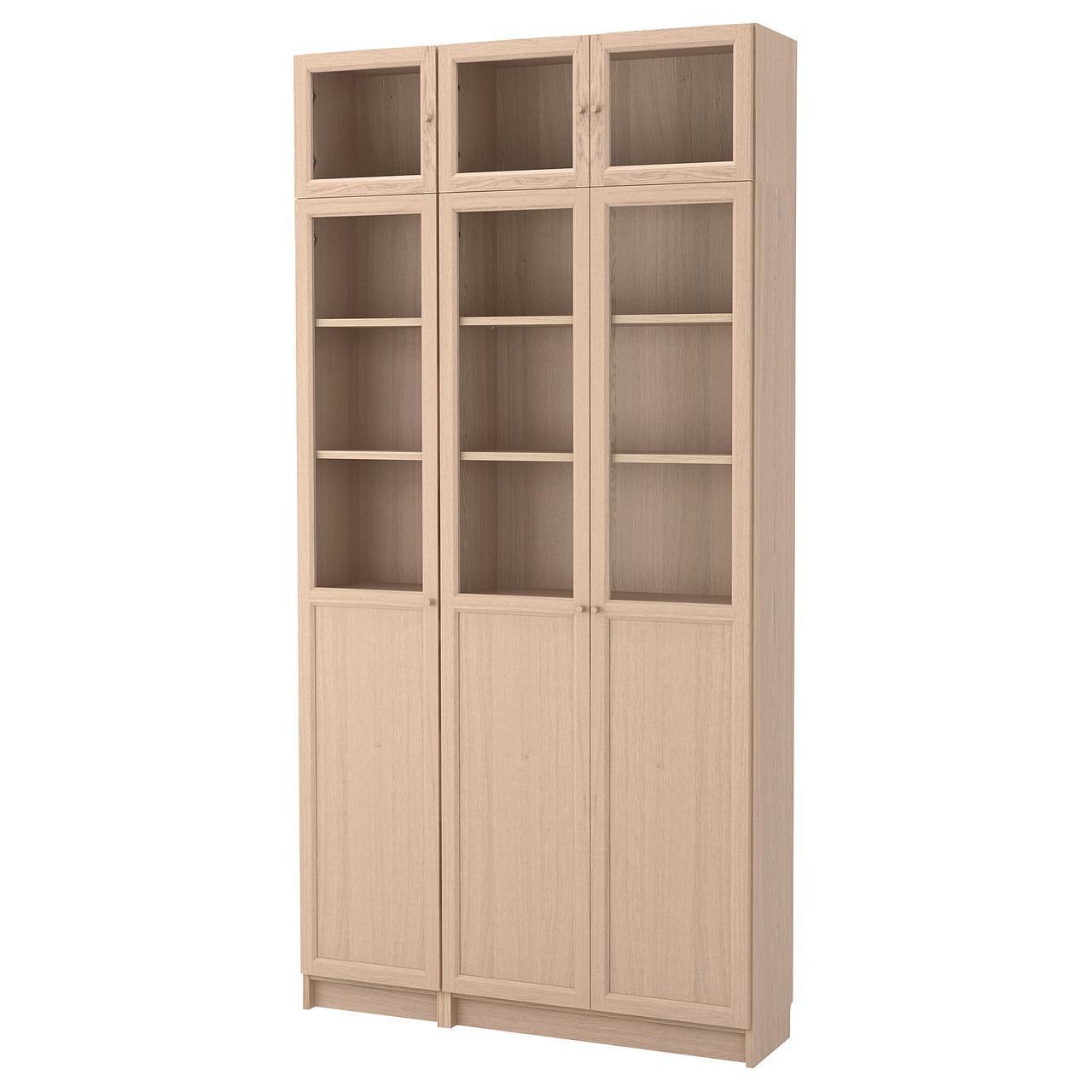 Стеллаж IKEA BILLY / OXBERG 120x237x30 см беленый дуб стеклянные дверки 792.499.60