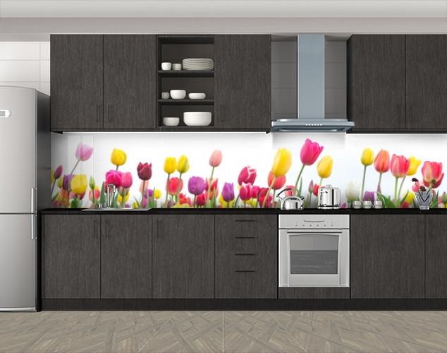 Кухонный фартук Сочные тюльпаны, Стеновая панель для кухни с фотопечатью, Цветы, белый, 600*3000 мм