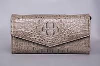 Женский кошелек с выдвижной ручкой-петлей из натуральной кожи крокодила