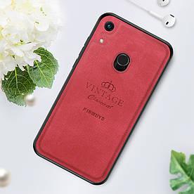 Чехол накладка для Huawei Honor 8A Pro с кожаной поверхностью, PINWUYO Honorable Series, красный