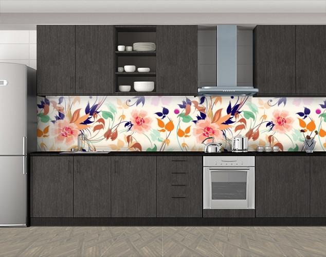 Кухонный фартук Полевые цветы, Защитная пленка на кухонный фартук с фотопечатью, Цветы, белый