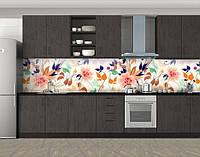 Кухонный фартук Полевые цветы, Защитная пленка на кухонный фартук с фотопечатью, Цветы, белый, фото 1