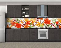 Кухонный фартук Осенние листья и калина, Фотопечать скинали на кухню, Цветы, оранжевый