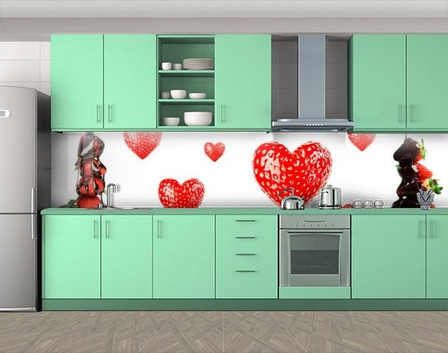 Кухонный фартук Клубничные сердца, Фотопечать скинали на кухню, Еда, напитки, белый