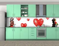 Кухонный фартук Клубничные сердца, Фотопечать скинали на кухню, Еда, напитки, белый, фото 1
