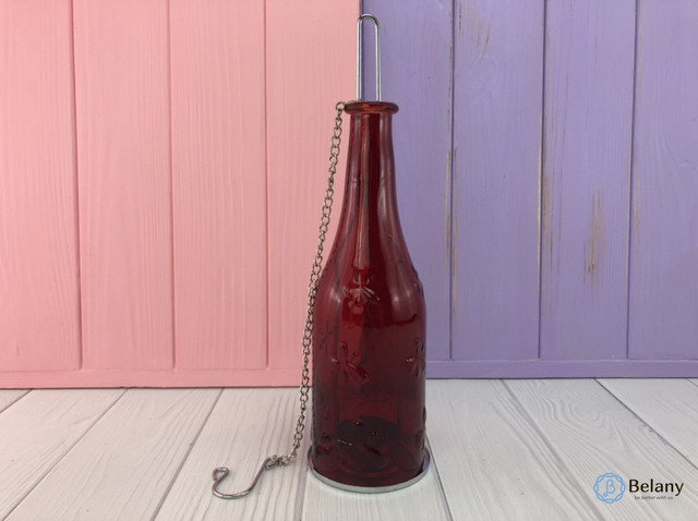 Декоративный подсвечник бутылочка красный