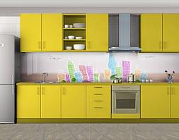 Кухонный фартук Путешествия, Самоклеящаяся стеновая панель для кухни, Архитектура, бежевый