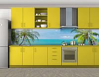 Кухонный фартук Пальмы и голубая вода, Защитная пленка на кухонный фартук с фотопечатью, Море, пляж, голубой