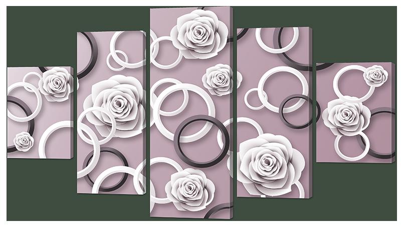 Модульная картина Interno Эко кожа Розы и кольца 108х60см (А978S)