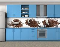 Кухонный фартук Чашки и кофе в зернах, Самоклеящаяся стеновая панель для кухни, Еда, напитки, белый