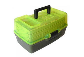 Ящик для снастей AQT-1703T трехъярусный, с прозрачной крышкой, 36х21.5х19.5 см