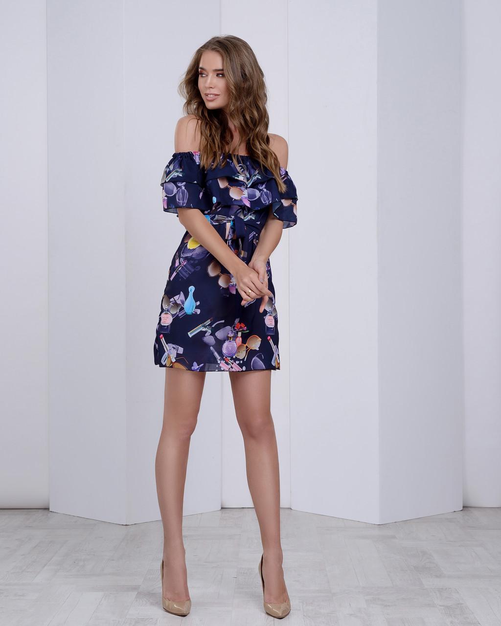 Стильное летнее платье с двумя воланами