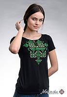Літня чорна жіноча вишита футболка на короткий рукав «Елегія (зелена вишивка)», фото 1