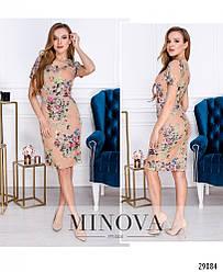 Платье – футляр с короткими рукавами в нежный цветочный рисунок раз. 42,44,46,48