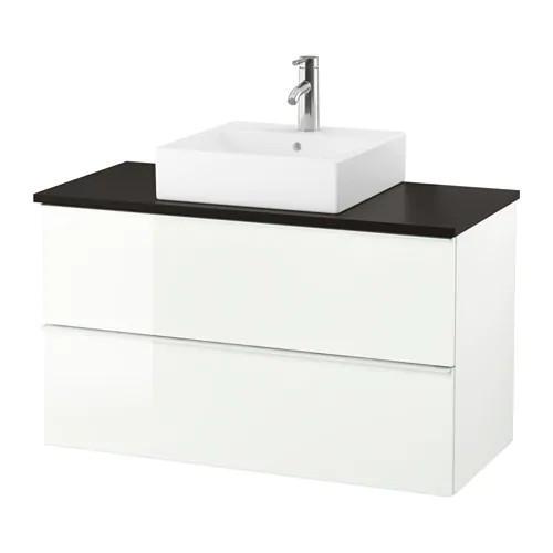 Шкаф с раковиной IKEA GODMORGON / TOLKEN / TÖRNVIKEN 102x49x72 см с 2 ящиками глянец белый антрацит 391.853.85