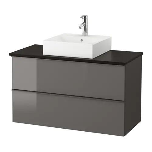 Шкаф с раковиной IKEA GODMORGON / TOLKEN / TÖRNVIKEN 102x49x72 см с 2 ящиками глянец серый антрацит 391.857.38