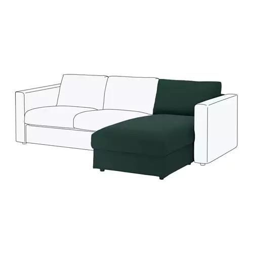 Секция кушетки / шезлонга для модульного дивана IKEA VIMLE Gunnared темно-зеленый 591.975.75