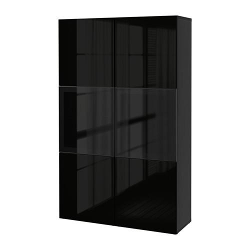 BESTÅ Книжная полка/стеклянные двери, czarnybrąz, Selsviken высокий глянец/черный dymione стекло 390.594.57