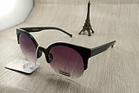 Женские солнцезащитные очки Cardeo - круглые черные с переходом