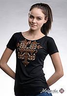 Чорна жіноча вишита футболка на кожен день у патріотичному стилі «Елегія (коричнева вишивка)», фото 1