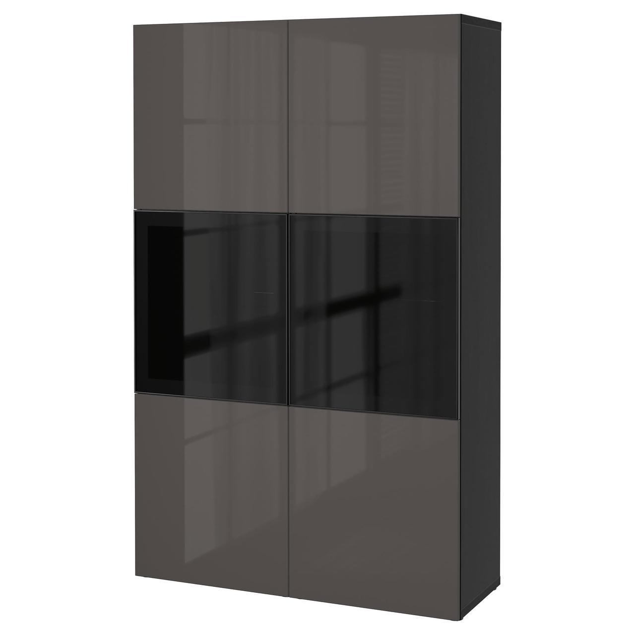 Сервант IKEA BESTÅ 120x40x192 см Selsviken серый черно-коричневый 390.897.89