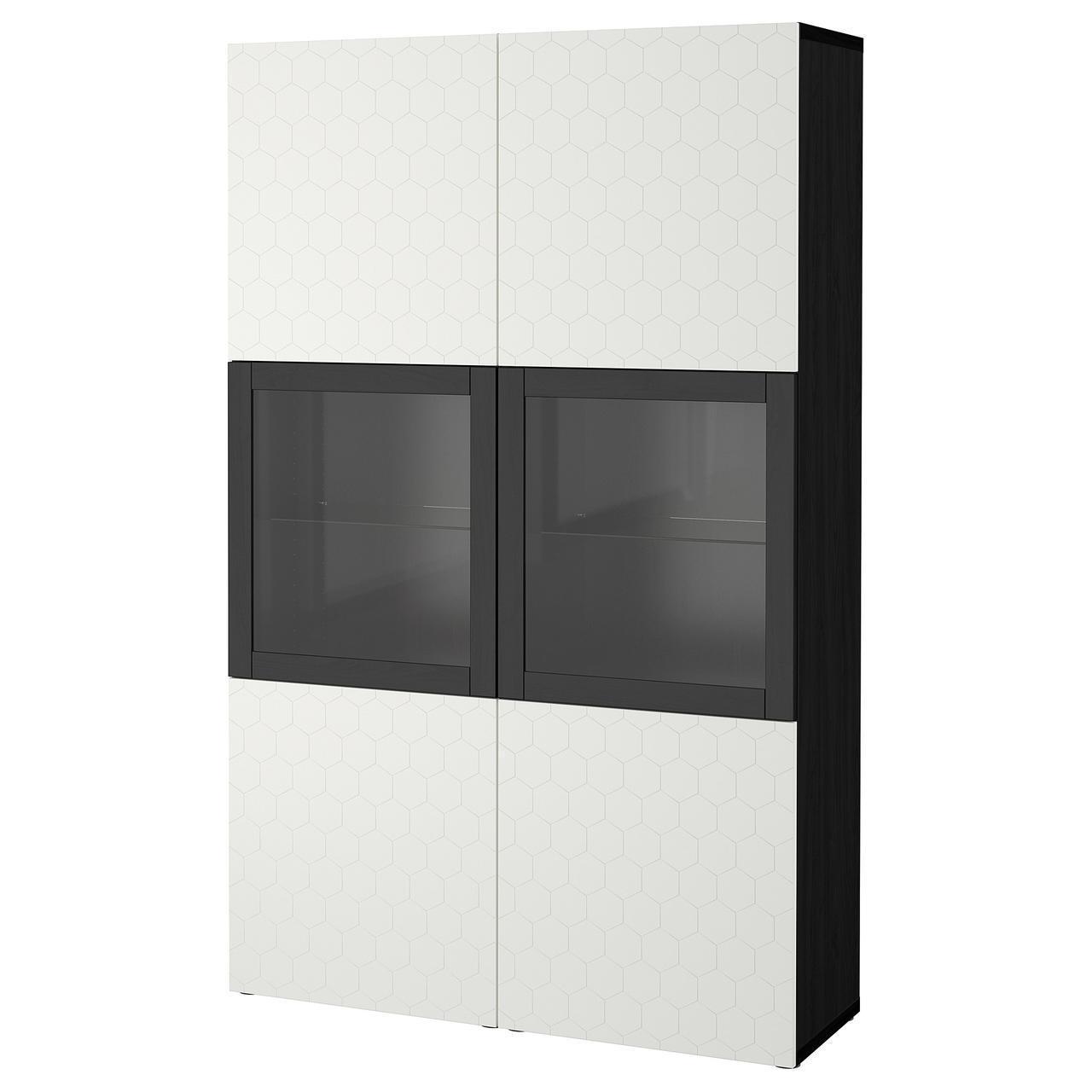 Сервант IKEA BESTÅ 120x40x192 см Vassviken черно-коричневый белый 392.666.40