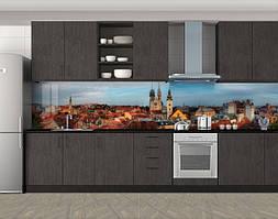 Кухонный фартук Вечер в Европе, Пленка самоклеящаяся для скинали, Город днем, коричневый