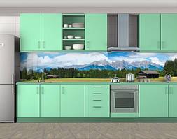 Кухонный фартук Домик в горах, горы, Кухонный фартук на самоклеящееся пленке с фотопечатью, Архитектура, голубой