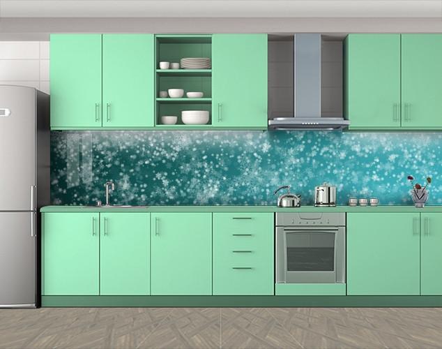 Кухонный фартук Иней, Защитная пленка на кухонный фартук с фотопечатью, Абстракции, голубой