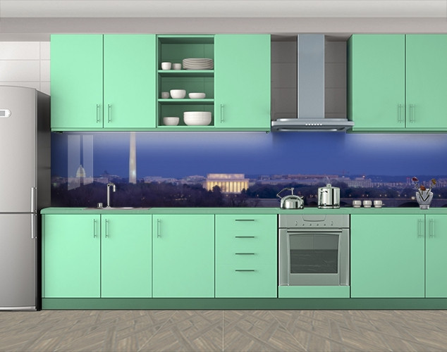 Кухонный фартук Вашингтон, Фотопечать скинали на кухню, Архитектура, синий