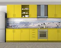 Кухонный фартук Зима в горах, Кухонный фартук на самоклеящееся пленке с фотопечатью, Природа, белый