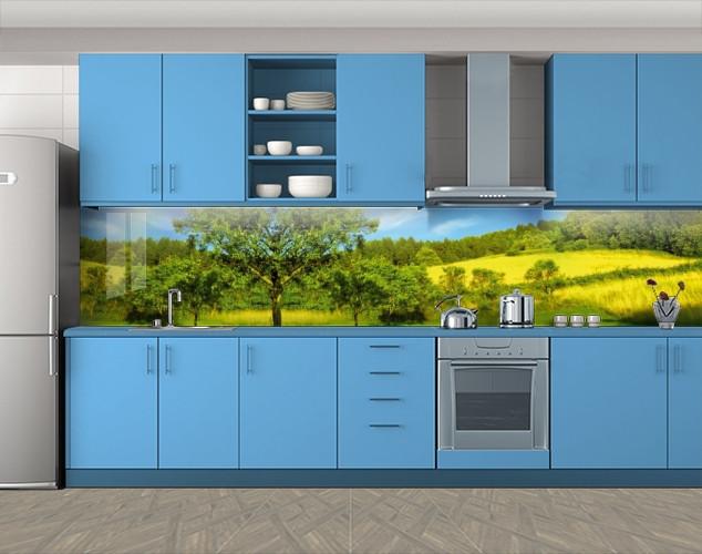 Кухонный фартук Зеленая роща на цветущих холмах, Самоклеящаяся скинали с фотопечатью, Природа, зеленый