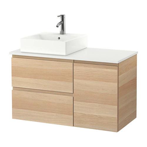 Шкаф с раковиной IKEA GODMORGON / TOLKEN / TÖRNVIKEN 102x49x72 см с ящиками беленый дуб белый 091.932.97