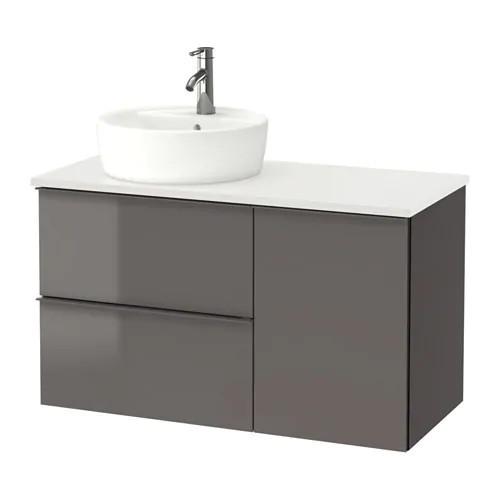 Шкаф с раковиной IKEA GODMORGON / TOLKEN / TÖRNVIKEN 102x49x74 см с ящиками серый глянец белый 591.932.47