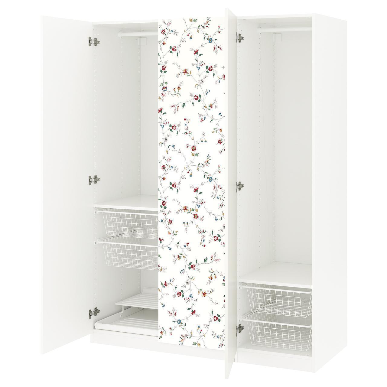 Шкаф IKEA PAX Marnardal белый с цветочным узором 792.471.12