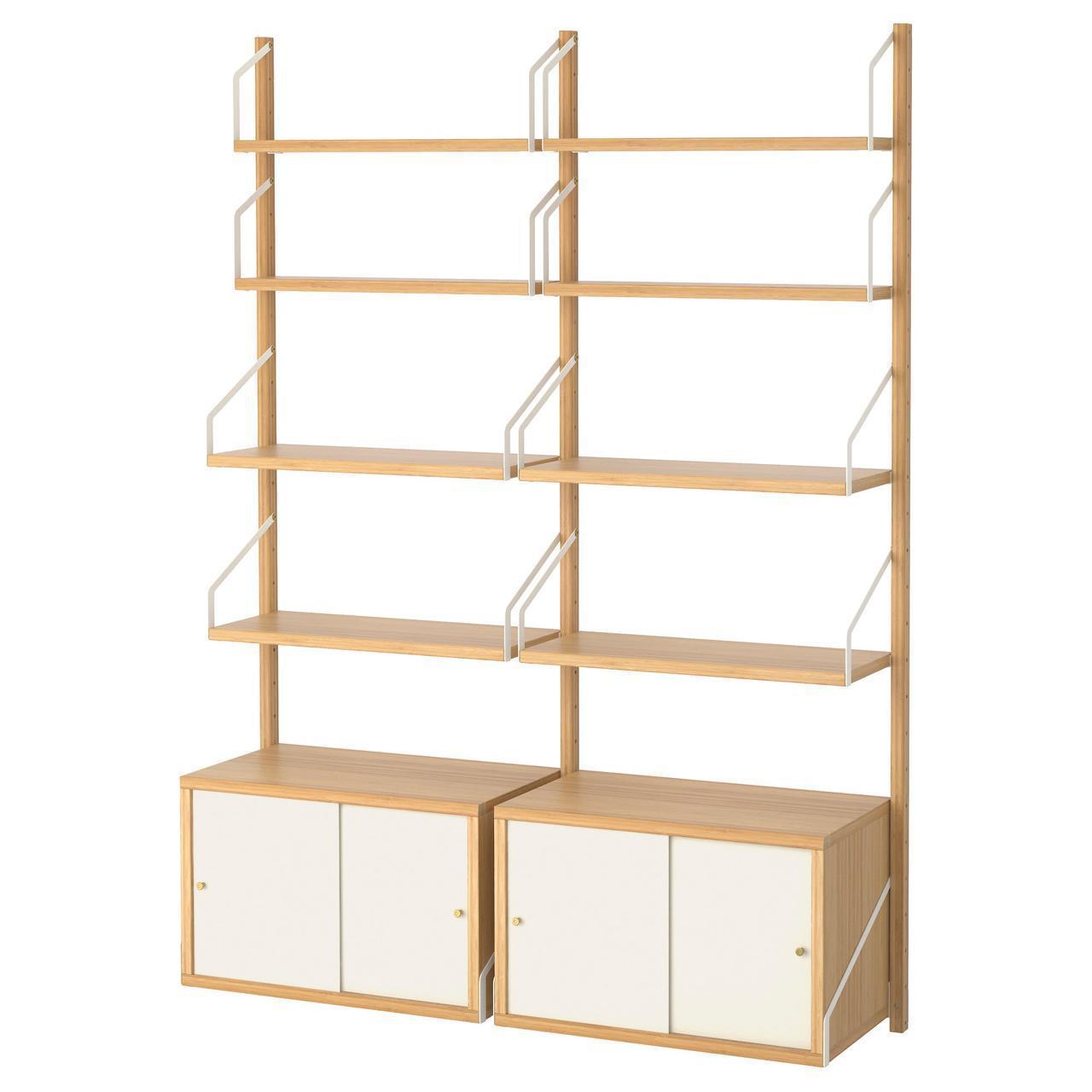 Комбинация настенных полок IKEA SVALNÄS 130x35x176 см белый светло-коричневый бамбук 391.844.37
