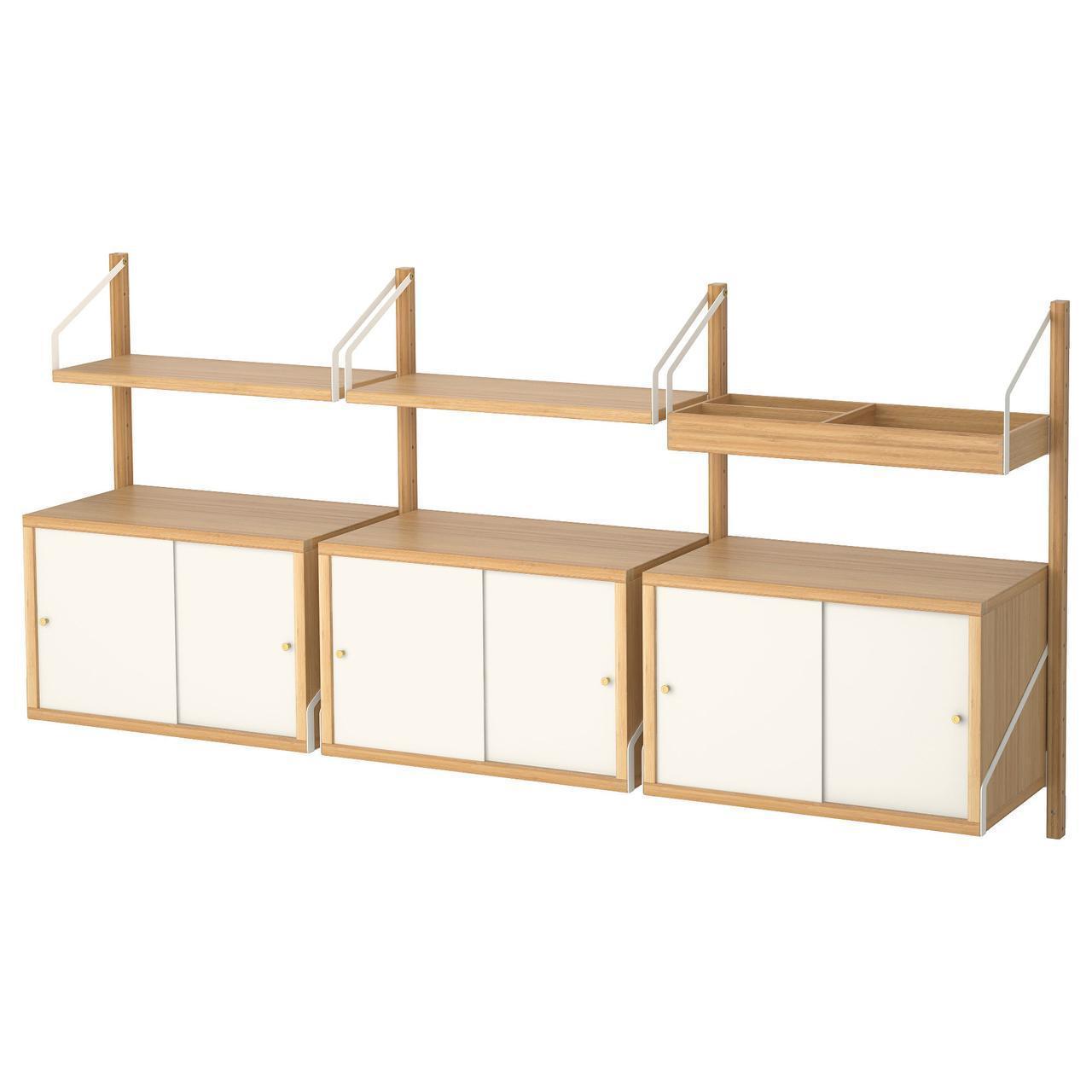 Комбинация настенных полок IKEA SVALNÄS 193x35x93 см белый светло-коричневый бамбук 491.844.70